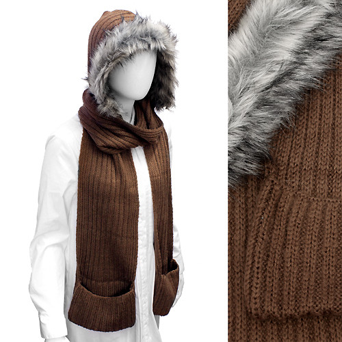 Fur Trim Hooded Hoodie Knit 1-Piece Scarf with Pocket Brown