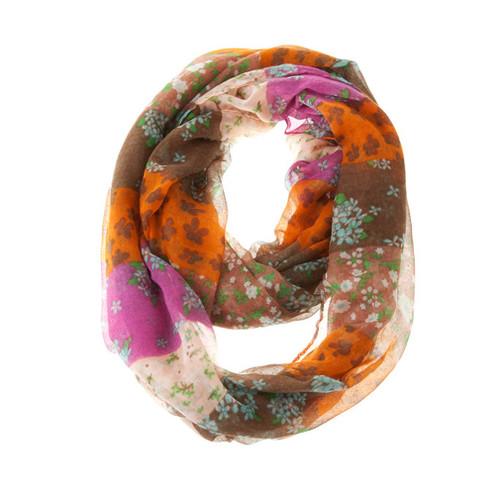 Fashion Floral Infinity Loop Scarf Orange Brown