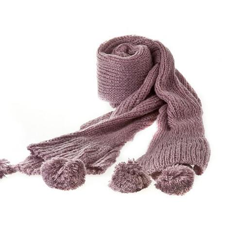 Fashion Classic Pompom Fur Ball Solid Soft Knit Scarf Purple