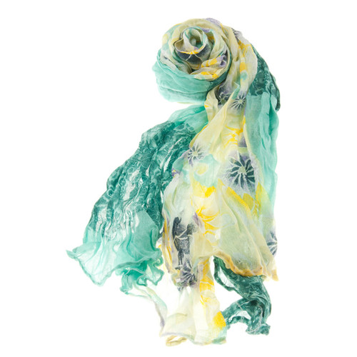 Beautiful Floral Flowers Scrunched Lightweight Fashion Scarf Green