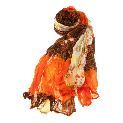 Beautiful Floral Flowers Scrunched Lightweight Fashion Scarf Orange