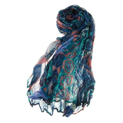 Beautiful Mix Paisley Scrunched Lightweight Fashion Scarf Blue