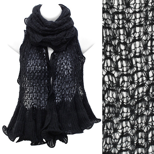 Beautiful Sweet Knit Lace Ruffle Edged Long Fashion Scarf Black