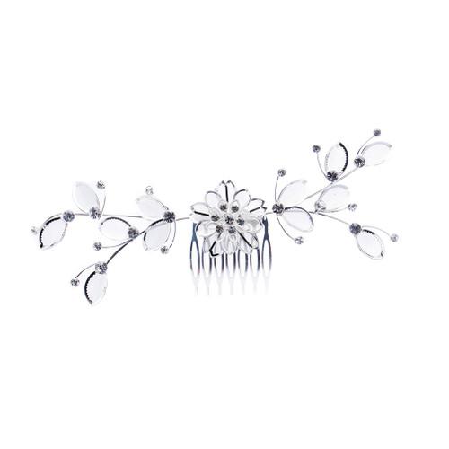 Bridal Wedding Jewelry Crystal Rhinestone Mesh Floral Leaf Drape Hair Comb Pin