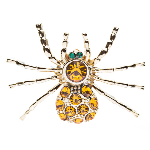 Halloween Costume Jewelry Spider Crystal Charm Fashion Brooch Pin Gold Topaz