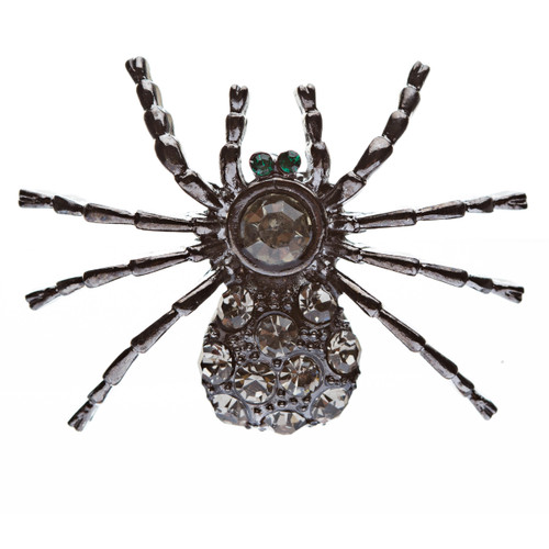 Halloween Costume Jewelry Spider Crystal Charm Fashion Brooch Pin Hematite Black