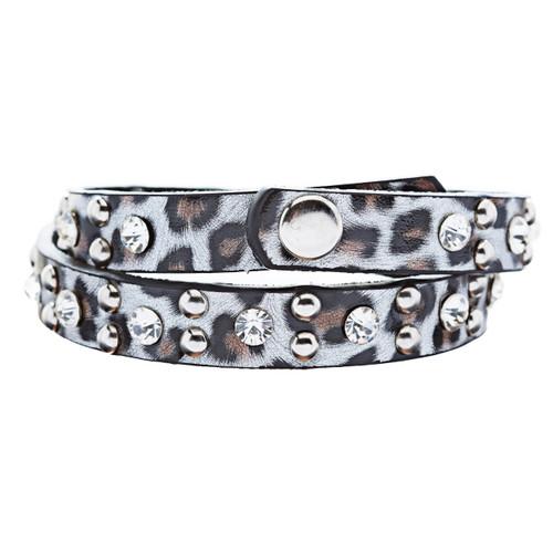 Genuine Leather Crystal Rhinestone Animal Print Pattern Wrap Bracelet Silver
