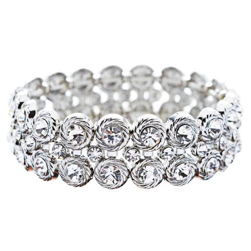 Bridal Wedding Jewelry Stunning Chic Crystal Rhinestone Stretch Bracelet Silver