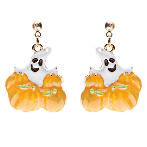 Halloween Costume Jewelry Ghost Pumpkins Dangle Fashion Earrings Gold Orange