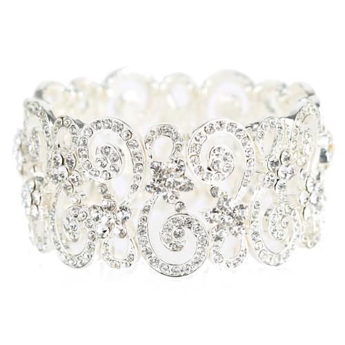 Bridal Wedding Prom Jewelry Crystal Rhinestone Vintage Stretch Bracelet B537 SV