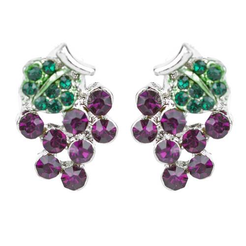 Adorable Crystal Rhinestone Grape Fruit Charm Stud Post Earrings E1198 Purple