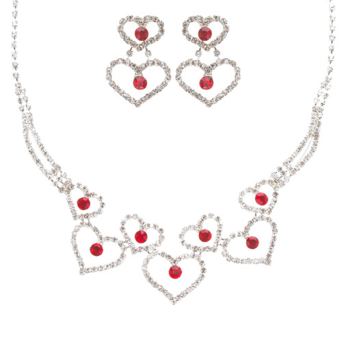 Valentines Jewelry Bridal Wedding Prom Fashion Heart Link Necklace Set J467 Red