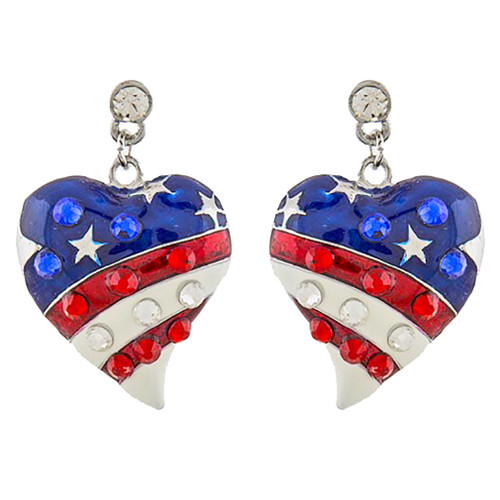 Patriotic Jewelry American Flag Curved Heart Crystal Dangle Earrings E1211 SV