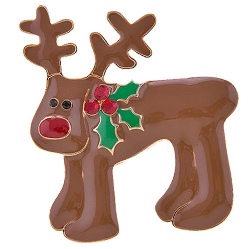 Christmas Jewelry Crystal Rhinestone Adorable Reindeer Brooch Pin BH229 Brown