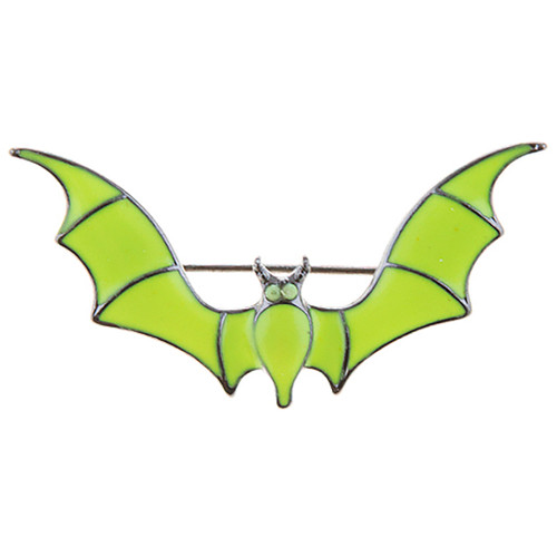 Halloween Costume Jewelry Spooky Bat Brooch Pin Neon Lime Green BH230