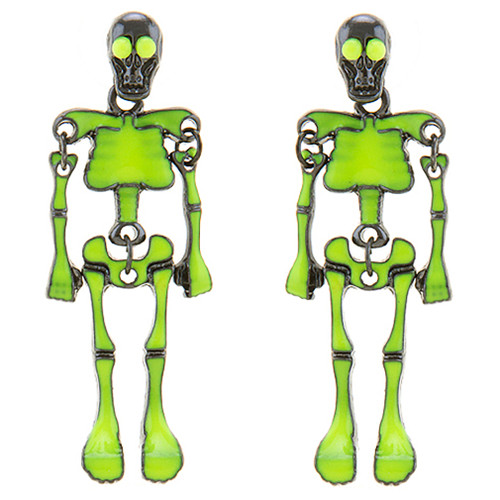 Halloween Costume Jewelry Unique Fun Skeleton Dangle Earrings Lime Green E1220