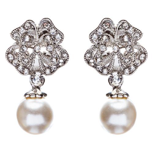 Bridal Wedding Jewelry Crystal Rhinestone Pearl Drop Dangle Earrings E482