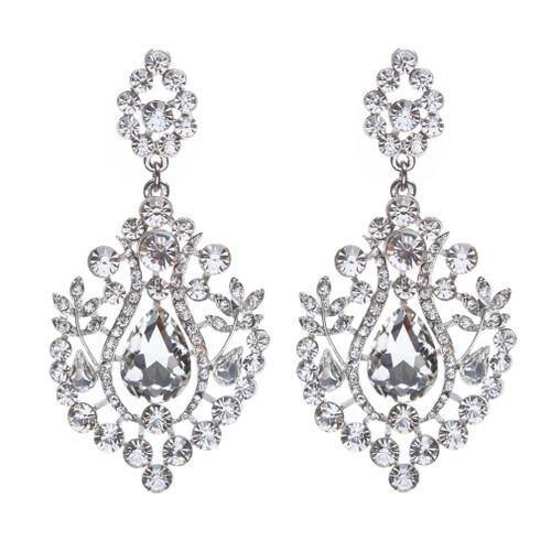 Bridal Wedding Jewelry Crystal Rhinestone Dangle Drop Earrings Silver E635