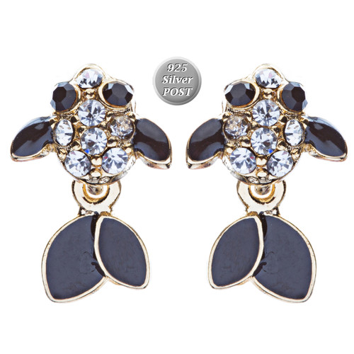 Adorable Crystal Accent Fish Tiny Stud Style Fashion Earrings E504 Gold Black