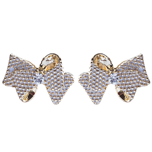 Classic Ribbon Bow Tie Design Crystal Rhinestone Pave Earrings E505 Gold White