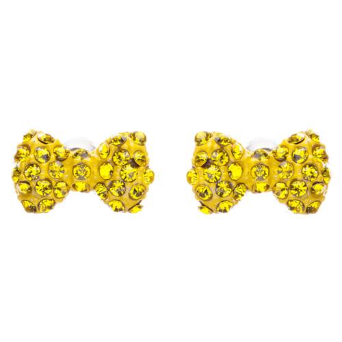 Adorable Mini Bow Tie Ribbon Sweet Fashion Stud Style Earrings E872 Yellow