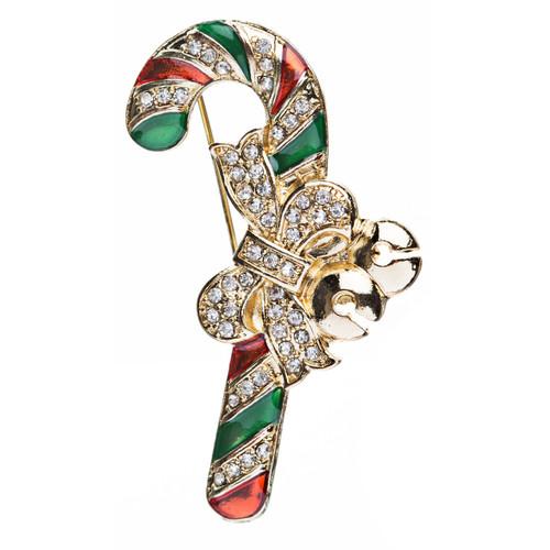 Christmas Jewelry Crystal Rhinestone Sparkling Candy Cane Ribbon Brooch Pin BH62
