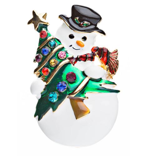 Christmas Jewelry Crystal Rhinestone Cute Penguin Hat Brooch Pin BH67