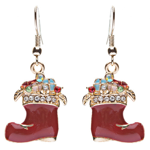 Christmas Jewelry Crystal Rhinestone Gifts Boot Shoe Dangle Earrings E637