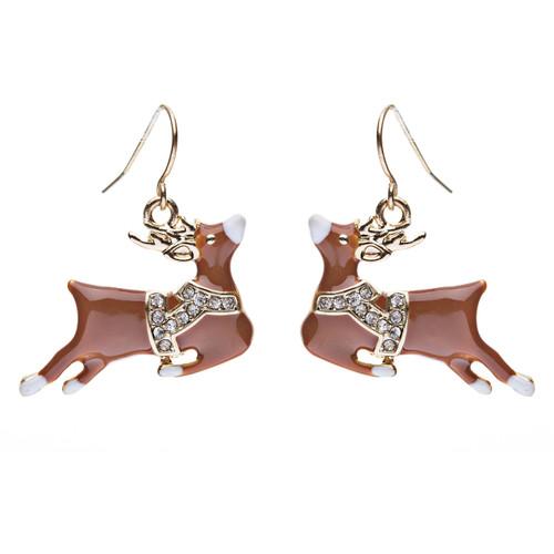 Christmas Jewelry Crystal Rhinestone Adorable Reindeer Dangle Earring E638