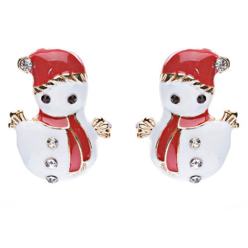 Christmas Jewelry Crystal Rhinestone Cute Adorable Snowman Earrings E642