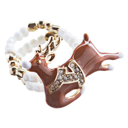 Christmas Jewelry Rhinestone Cute Reindeer Charm Stretch Fashion Ring R188