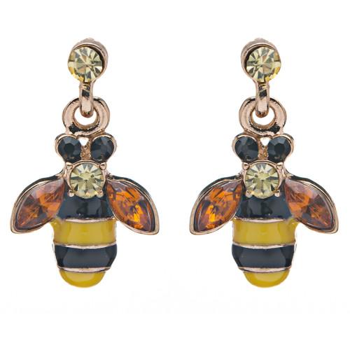 Adorable Bee Charm Dangle Style Rhinestone Fashion Earrings E491
