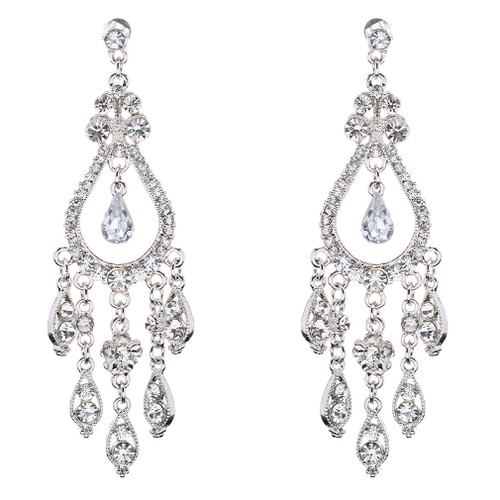 Bridal Wedding Jewelry Set Crystal Rhinestone Stunning Dangle Earrings E609 SV