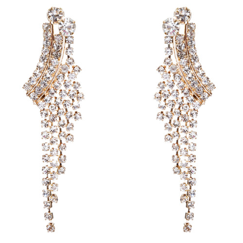 Bridal Wedding Jewelry Crystal Rhinestone Cascading Dangle Earrings E946 Gold
