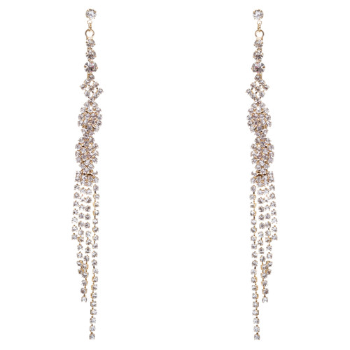 Bridal Wedding Jewelry Crystal Rhinestone Unique Long Drop Dangle Earrings E947G