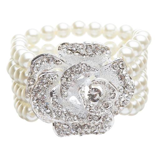 Bridal Wedding Jewelry Crystal Rhinestone Pearl Beautiful Rose Stretch B407 SV
