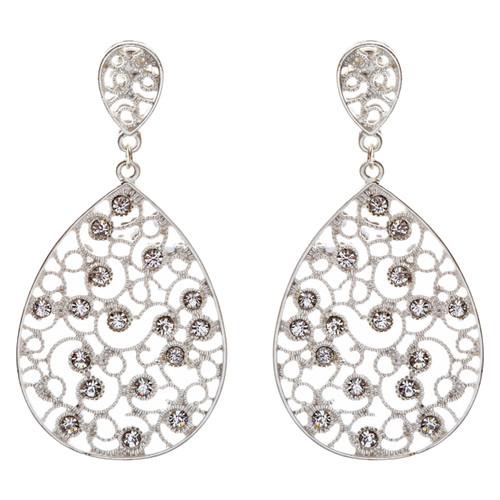 Dazzling Swirl Pattern Crystal Rhinestone Bridal Prom Fashion Earrings E314 SV