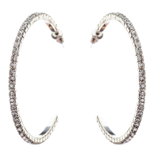 Exquisite Sparkle Crystal Rhinestone Hoop Design Fashion Earrings E688 Silver