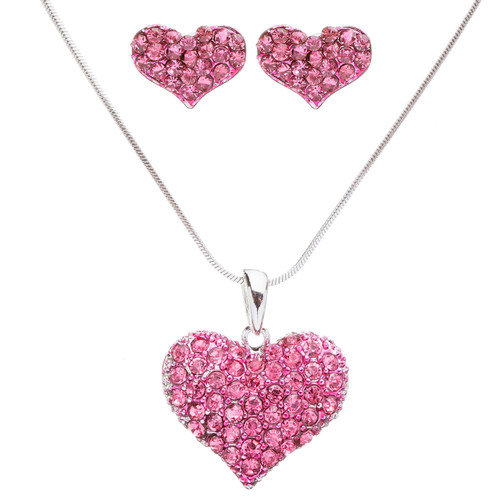 Lovely Sweet Beautiful Heart Shape Valentine's Day Necklace Set JN166 Fuchsia