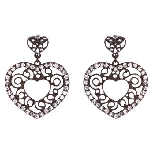Sophisticated Crystal Rhinestone Heart Shape Dangle Fashion Earrings E313 Black