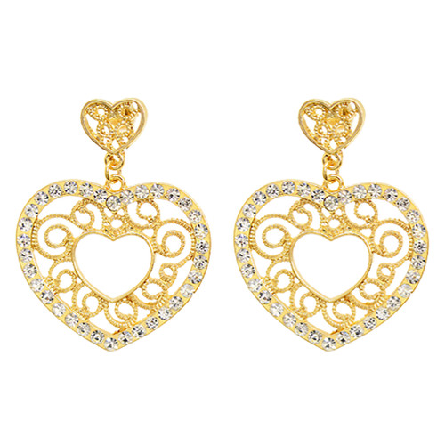 Sophisticated Crystal Rhinestone Heart Shape Dangle Fashion Earrings E313 Gold