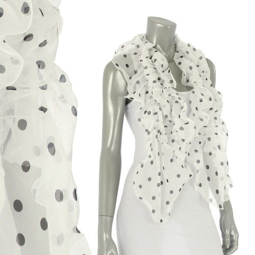 Polka Dot Chiffon Ruffle Lightweight Fashion Scarf White SF315