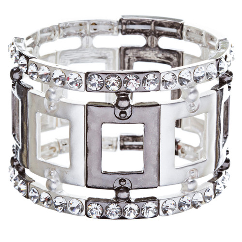 Fashion Square Linked Crystal Stretch Bracelet Black