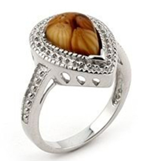 Brown Matte MILLEFIORI Drop Sterling Silver Ring 9