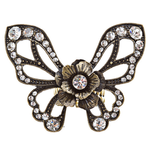Flower Accented Butterfly Stretch Ring Burnish Gold