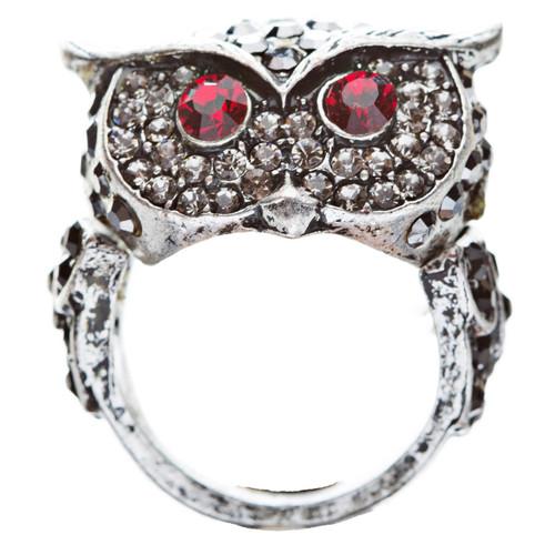 Owl Animal 3D Crystal Rhinestone Stretch Ring Black