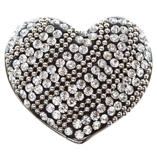Duo Tone Crystal Pave Heart Stretch Ring Antique Silver