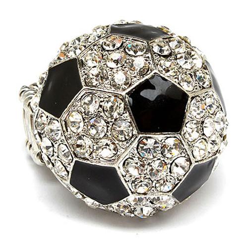 Sport Soccer Crystal Rhinestone Stretch Ring Clear