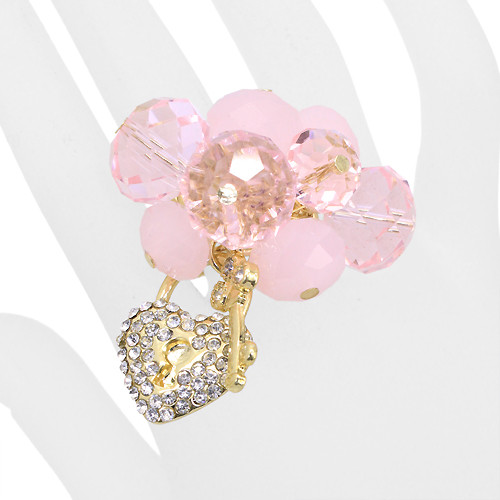 Crystal Cluster Pave Heart Key Stretch Ring Gold Pink