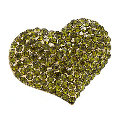 Crystal Pave Beautiful Heart Stretch Adjustable Ring Valentine Gold Green